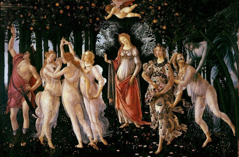 Botticelli's famous mythological painting, Primavera.