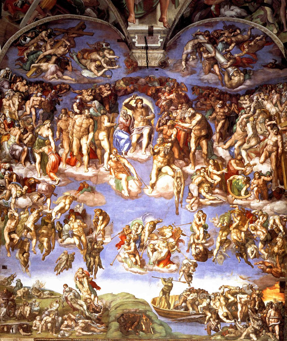 Michelangelo's Last Judgement on the Altar wall of the Sistine Chapel.