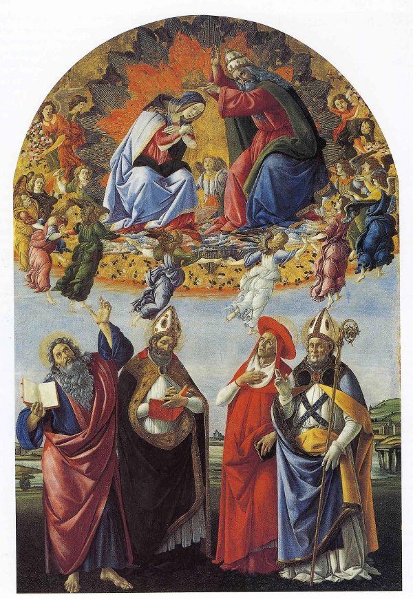 Botticelli's Coronation of the Virgin with Four Saints.