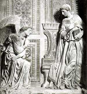 The Annunciation in limestone by Donatello