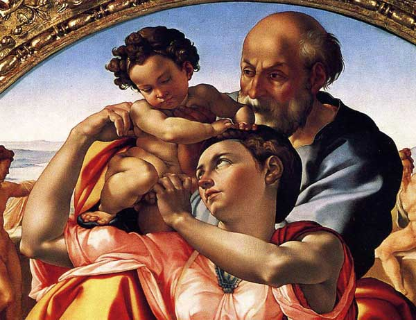 Detail of the Holy Family by Michelangelo