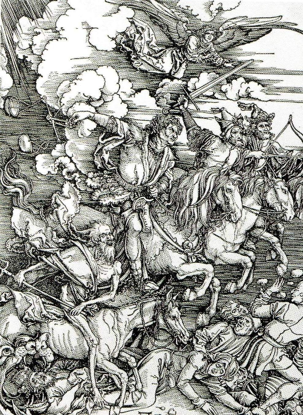 Durer's horsemen ride forth spreading death and destruction.