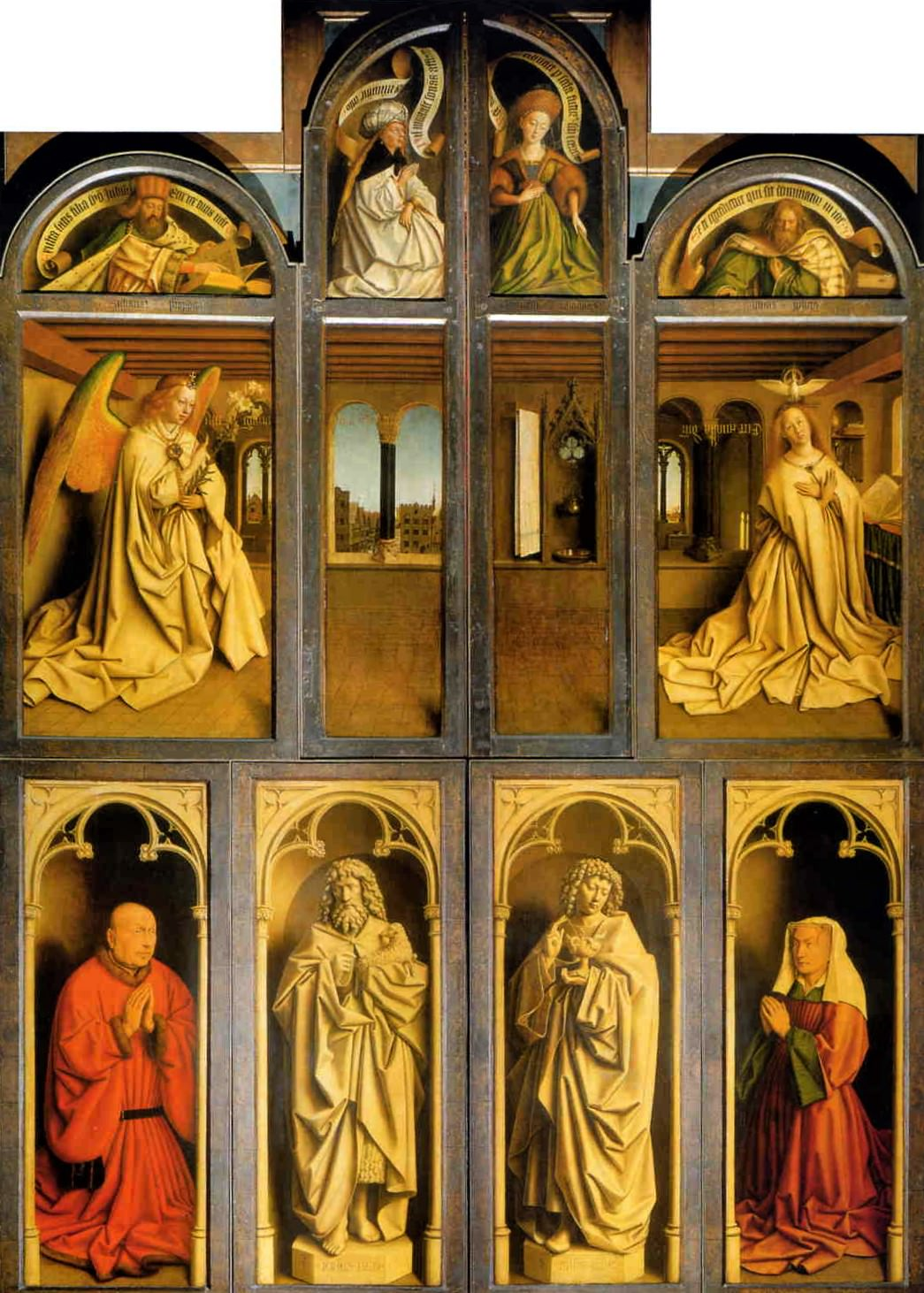 The Ghent Altarpiece with the wings closed, Jan and Herbert van Eyck.