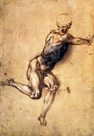 Figure study for the battle of Cascina by Michelangelo