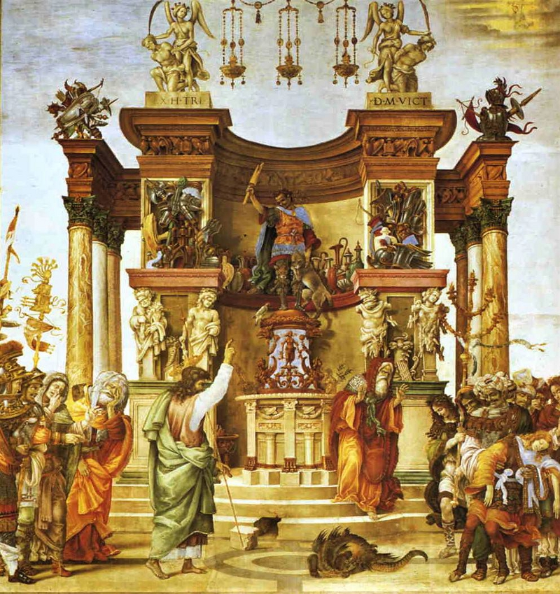 Exorcism of the Demon in the Temple of Mars. Strozzi chapel in the Santa Maria Novella, Florence.