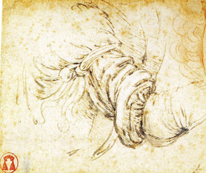 Sketch for the arm of the Angel in Leonardo da Vinci's Annunciation.