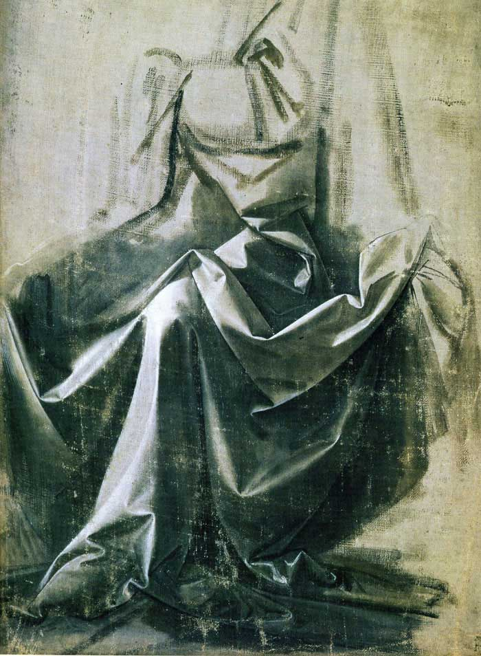 Leonardo da Vinci, study for a seated figure.