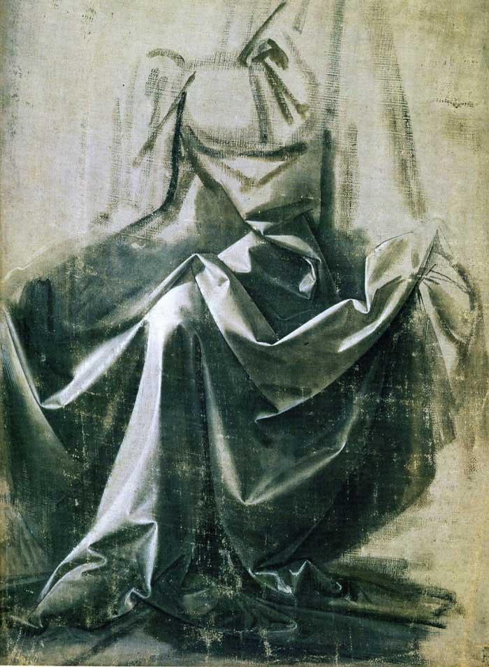 Leonardo da Vinci, study for a seated figure.
