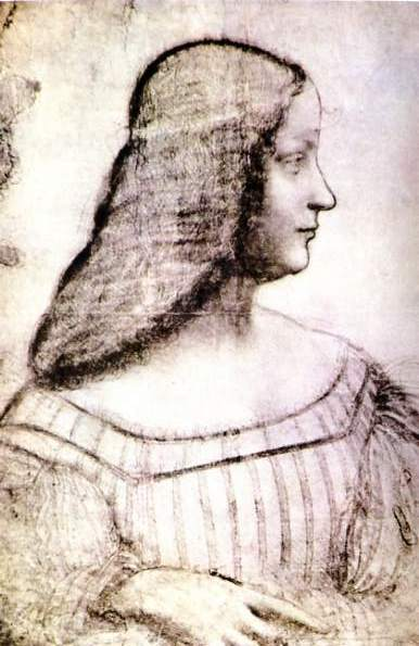 Isabella d'Este, 1499 Charcoal, black chalk and pastel on paper. 63x46 cm. Louvre Paris.