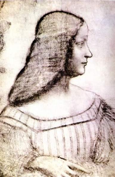 Isabella d'Este, 1499 Charcoal, black chalk and pastel on paper. 63x46 cm. Louvre Paris.