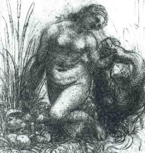 Study for a kneeling Leda and the Swan, Leonardo da Vinci.