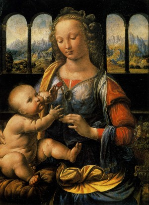 Madonna of the Carnation, c. 1472. Oil on wood, 62x47.5 cm. Munich, Alte Pinakothek.
