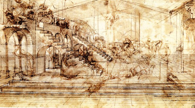 Leonardo's sketch for the Adoration of the Magi