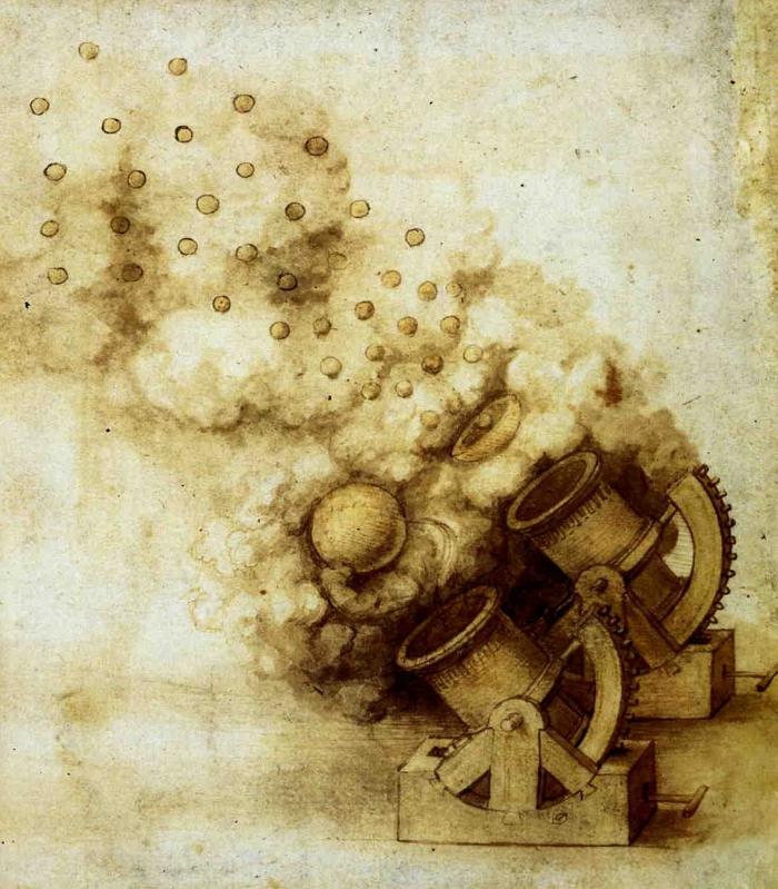 Leonard da Vinci's design for two cannon with exploding shells.