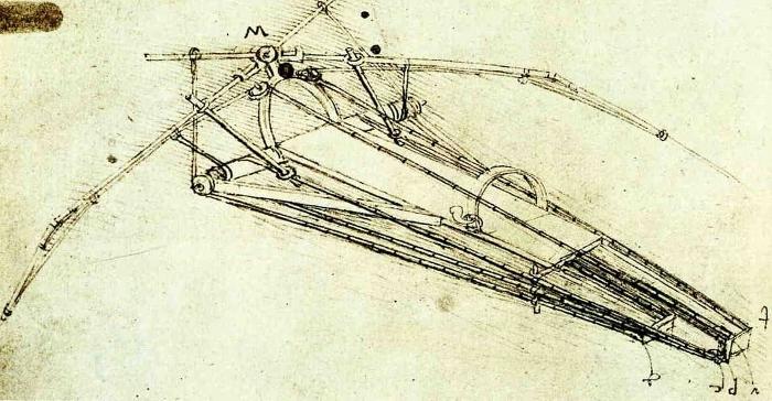 A design for a flying machine by Leonardo da Vinci.