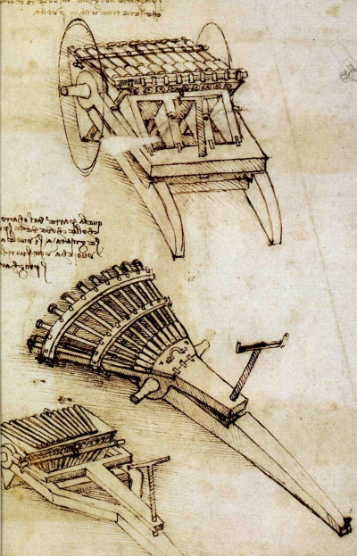 Guns with an array of horizontal barrels by Leonardo da Vinci.