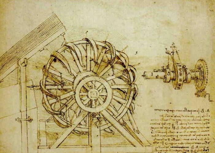 Leonardo da Vinci's design for a sixteen crossbow repeating machine.