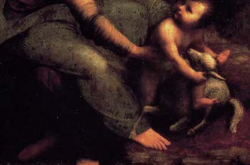 St Anne, detail of the leg, Leonardo da Vinci