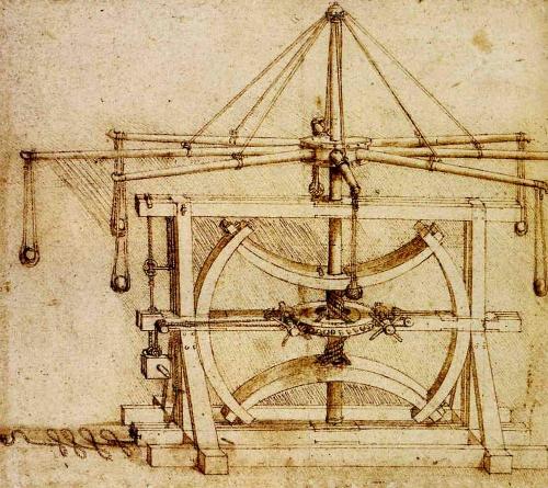 Multiple stone catapult designed by Leonardo da Vinci.