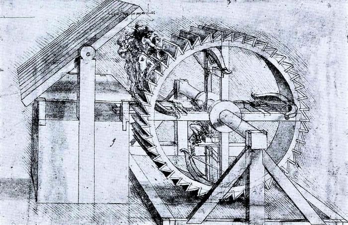 Leonardo da Vinci's design for a rapid-fire machine gun.