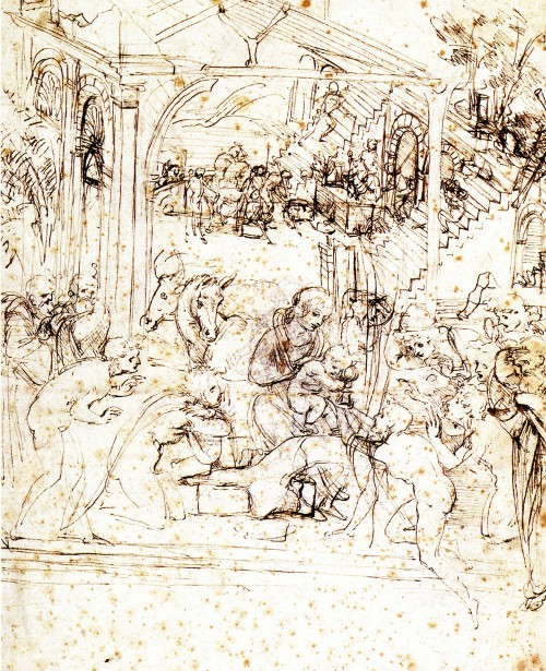Leonardo's sketch of the Adoration of the Magi