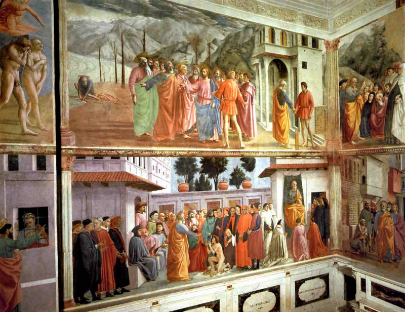 Frescoes on the left-side of the Brancacci Chapel.