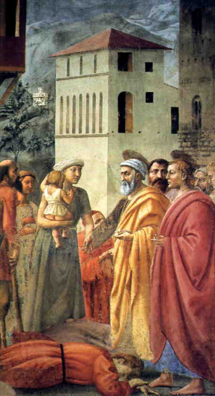 The bestowing of alms and the death of Ananias. Masaccio, Fresco, Brancacci Chapel, Florence.