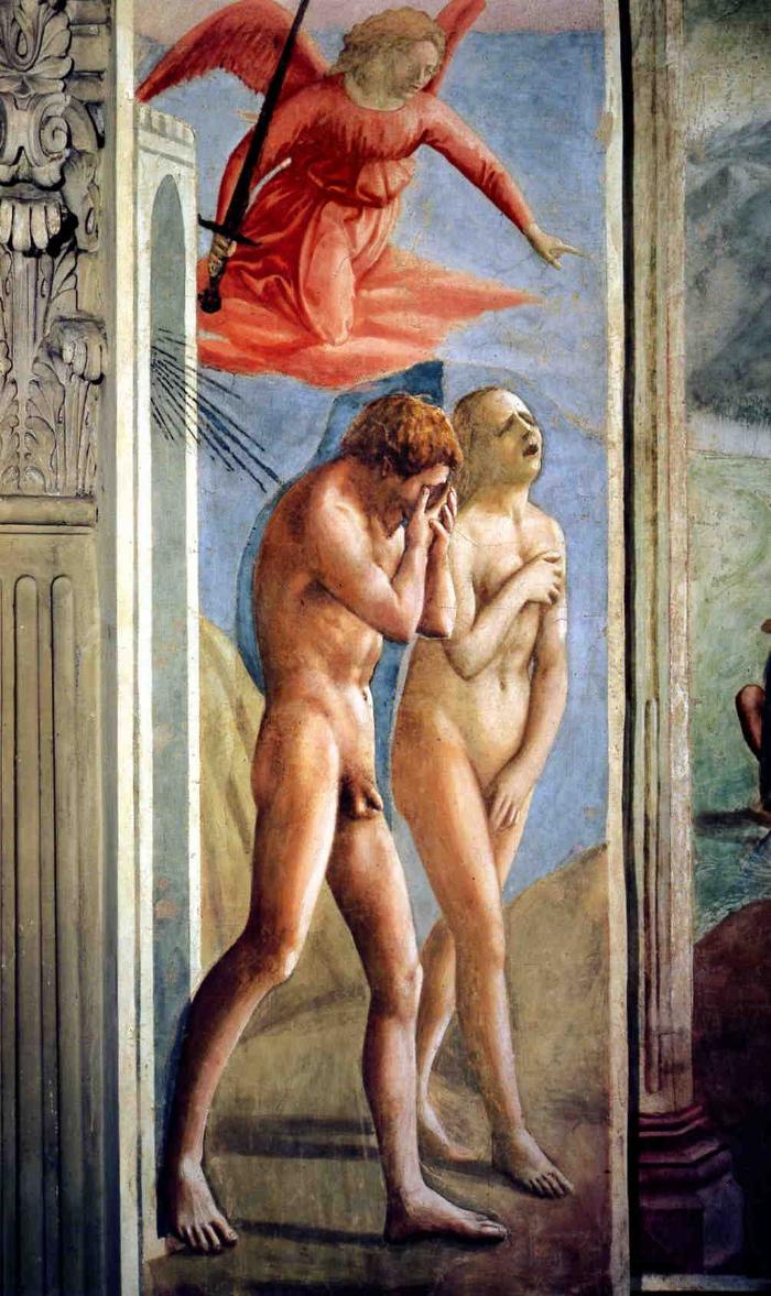 The Expulsion of Adam and Eve by Masaccio, Fresco, Brancacci Chapel, Florence, 1425/26