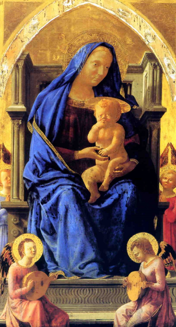Madonna and Child with four angels by Masaccio, tempera on wood, 135.5 x 73cm, National Gallery, London.