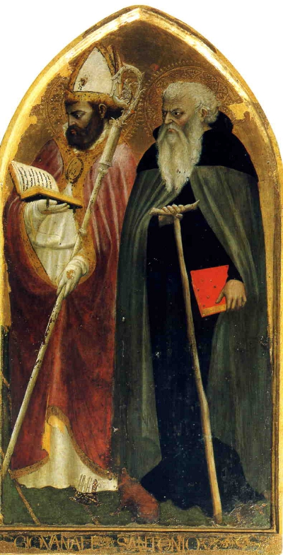 Saints Giovenale and Anthony from the right-hand panel of the San Giovenale Altarpiece by Masaccio.