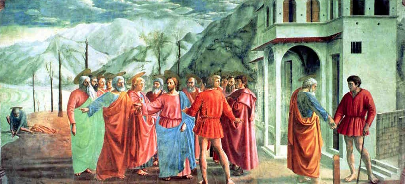 The Tribute Money by Masaccio, fresco, Brancacci Chapel, Florence.
