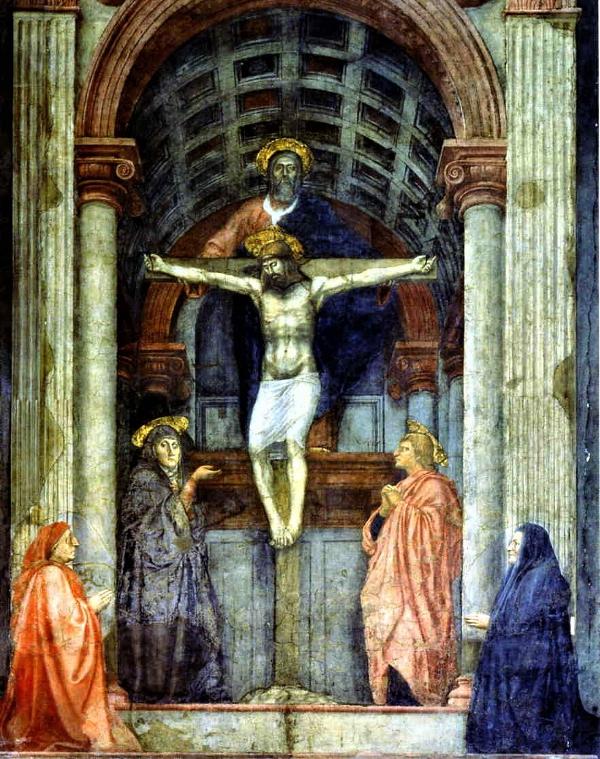 The Holy Trinity by Masaccio, c.1424, Fresco, Santa Maria Novella, Florence, Italy.