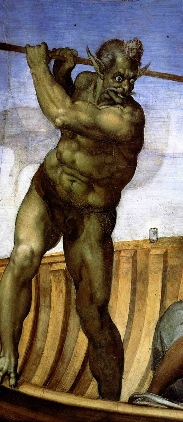 Charon the mythical boatman by Michelangelo.