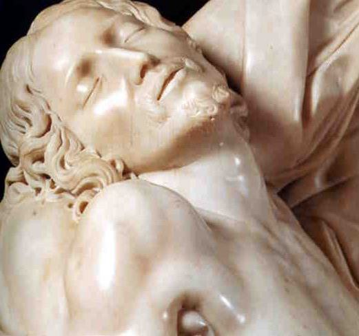 Detail from Michelangelo's Rome pieta, the head of Christ.