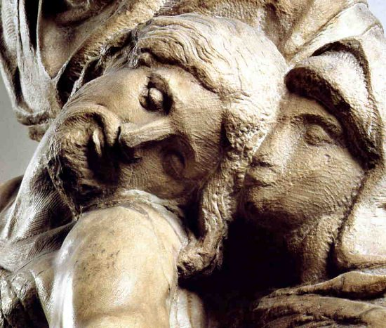 A superb detail, the head of Christ from Michelangelo's Florentine Pieta.