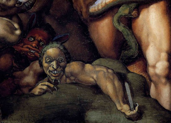 Detail of a demon from Michelangelo's Last Judgement.