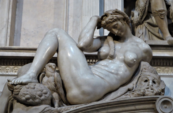 Michelangelo's Female Night, Medici Chapel, Florence, Italy
