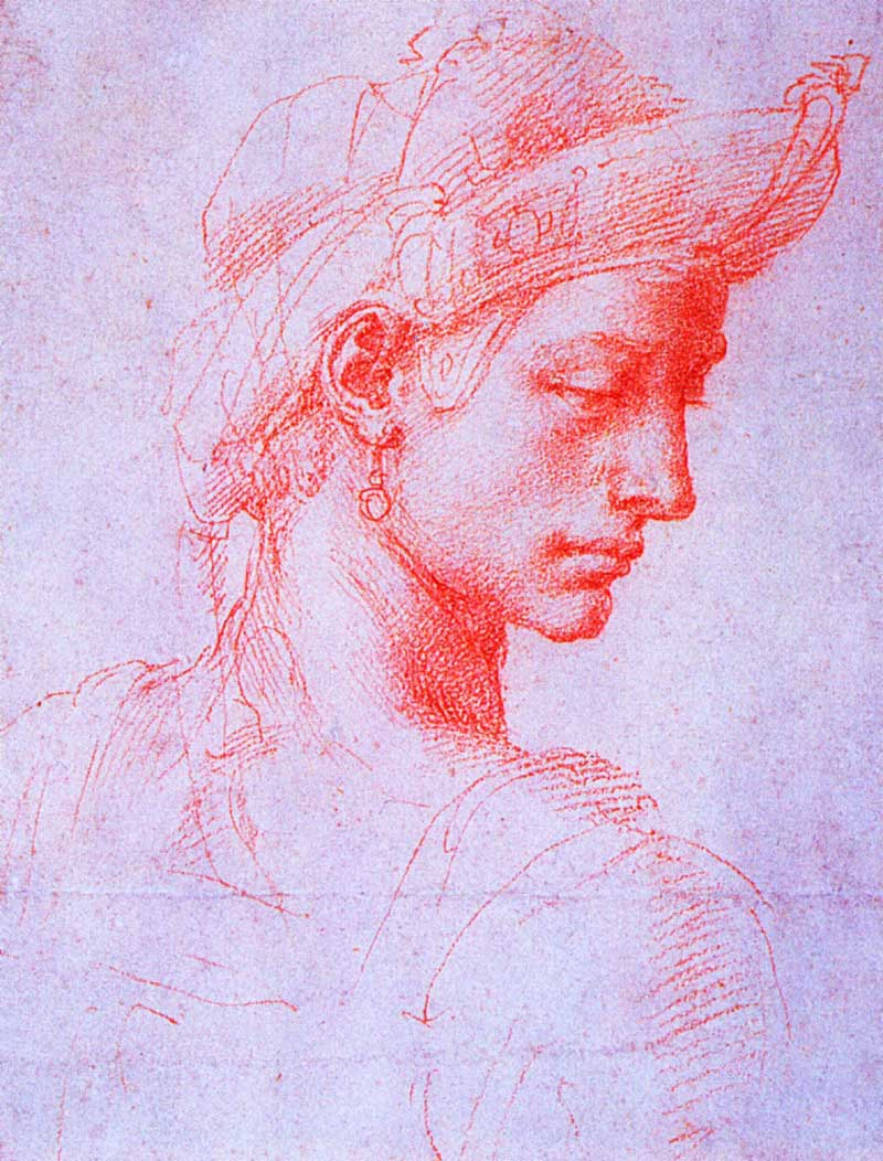 Study of an ideal head, Michelangelo.
