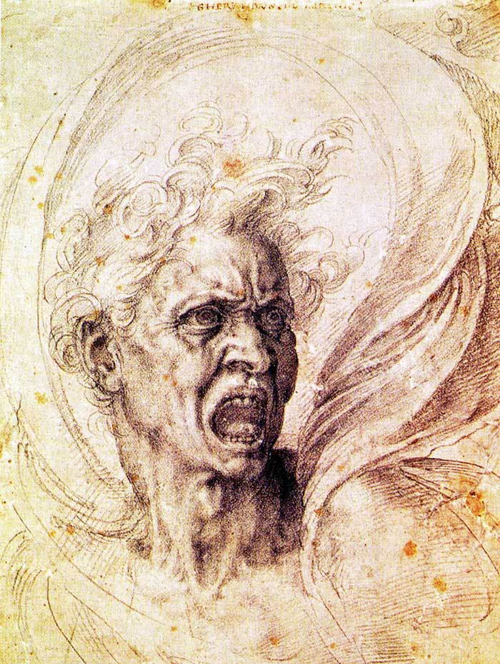 The Damned Soul a study by Michelangelo
