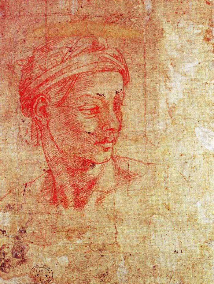 Red chalk head, Michelangelo.
