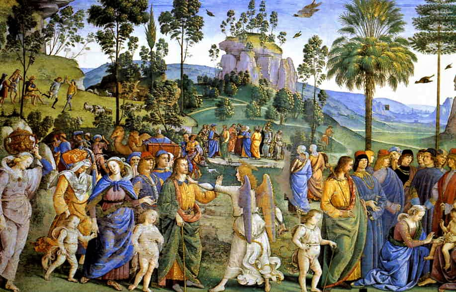 Perugino's Journey into Egypt, left wall of the Sistine Chapel.