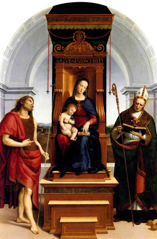 The Ansidei Madonna by Raphael. <br> Oil on panel, 247x152 cm.