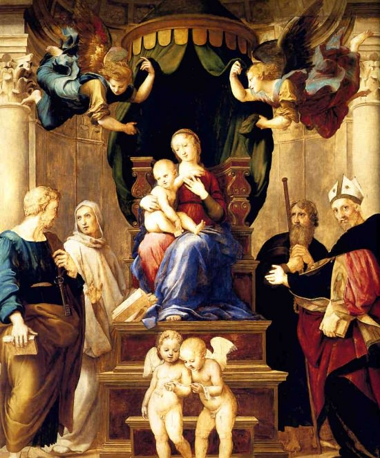 Madonna Baldacchino by Raphael. <br> Oil on panel, 249x217 cm.