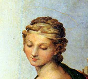 St Barbara, detail from the Sistine Madonna by Raphael