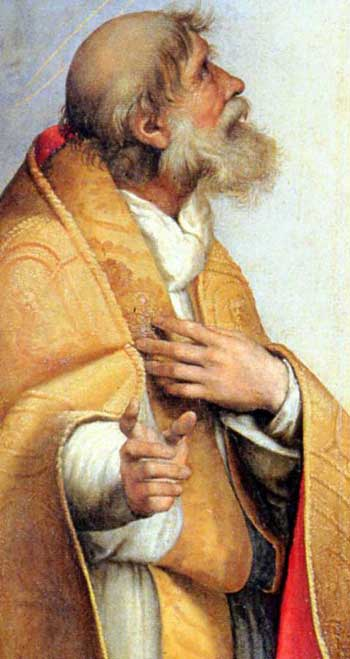 St Sixtus, detail from the Sistine Madonna by Raphael