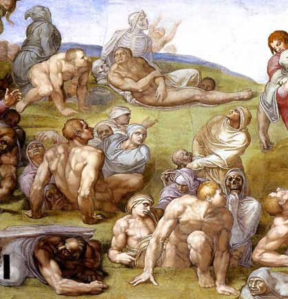 The Resurrection of the dead by Michelangelo