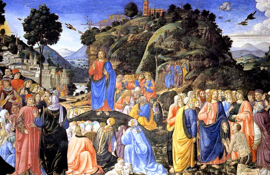 Cosimo Rosselli's Sermon on the Mount. Right wall of the Sistine Chapel.