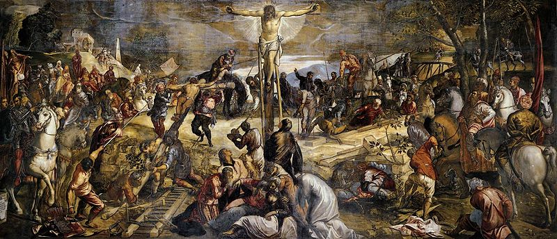 Tintoretto's magnificently huge painting, the crucifixion of Christ.