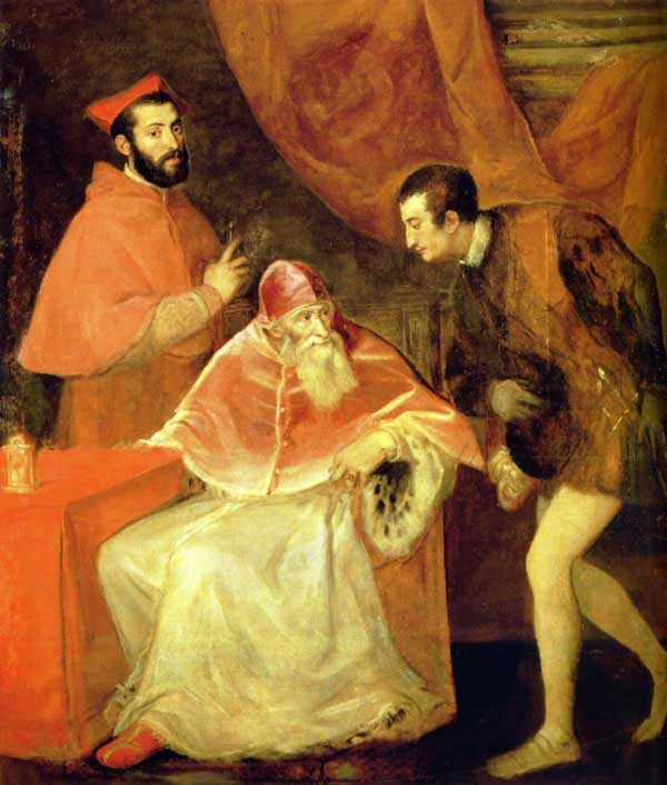 Pope Pau III and grandsons by Titian.