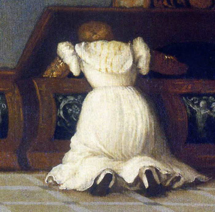 Girl at a chest of drawers. Detail from the Venus of Urbino by Titian.